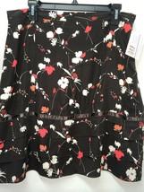 Anne Klein Women's Skirt Brown Skirt Floral Print SIlk Blend Size 12 - $19.79