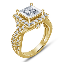 Princess Cut Simulated Diamond 14K Yellow Gold Finish Solitaire Engageme... - $75.99