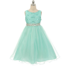 Mint Sequin Bodice Double Layers Tulle Skirt Rhinestones Party Flower Gi... - $37.95+