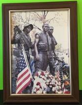 Vietnam Memorial Statue Memorial Day Framed Photograph US Flag - $56.10