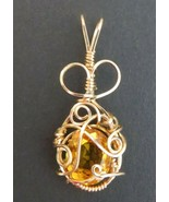 Yellow Citrine gemstone pendant large 4.25 ct. 12 x 10 mm Wire wrapped - $79.20