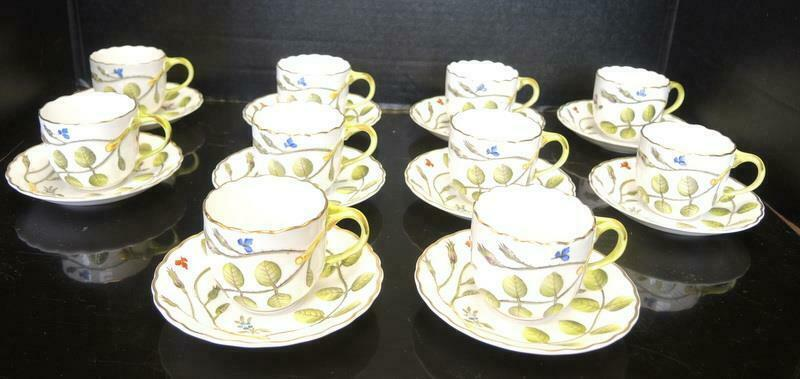 Ten Royal Worcester Demitasse Cups & Saucers - The Blind Earl Pattern