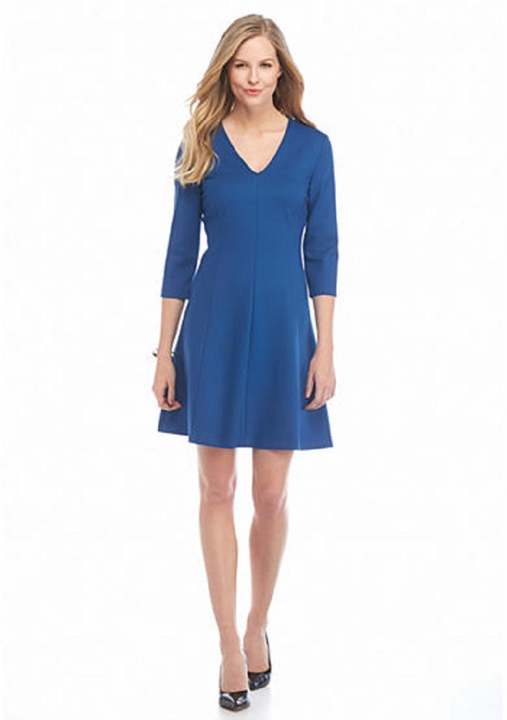 NWT ANNE KLEIN BLUE FLARE CAREER DRESS SIZE 10 $99