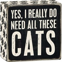 """Primitives by Kathy Word Box Sign, 4"""" Square, Yes, Cats - $11.49"""