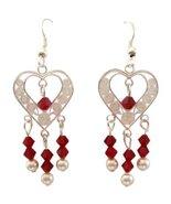 Heart Silver Chandelier Siam Red Swarovski Crystals White Pearls Sterling  - $18.00