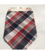 "PATRIOTIC Pets Brand Red Plaid Dog bandana Size Xs/s Neck Size 8-10"" - $4.74"