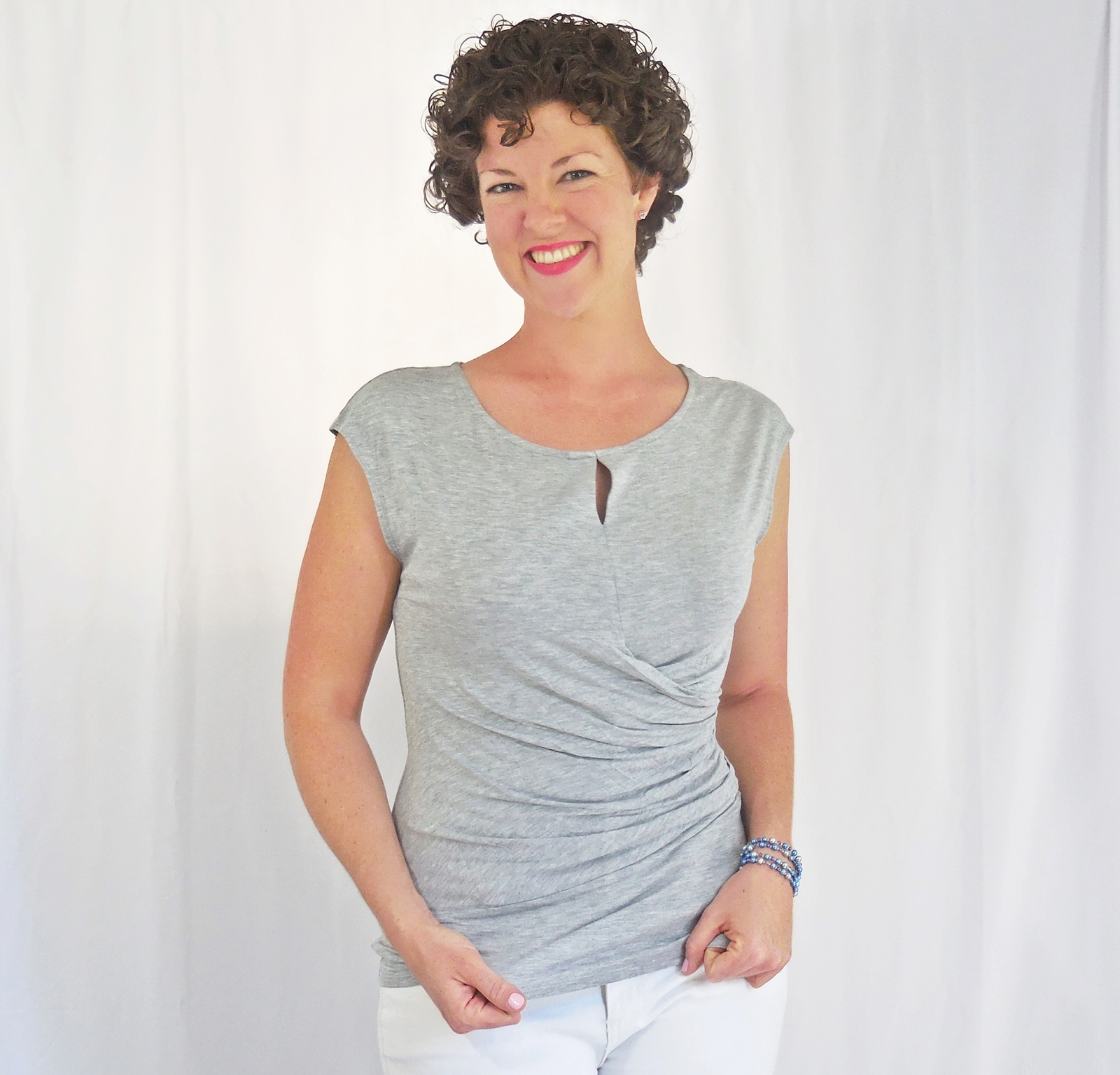 Gray Twist Front Top, Side Shirring, Keyhole, Gray Ruched Blouse, Side Wrap