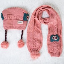 2 pcs Set Winter Baby Hat Scarf Cute Children Girl Toddler Hat Skullies ... - $28.73