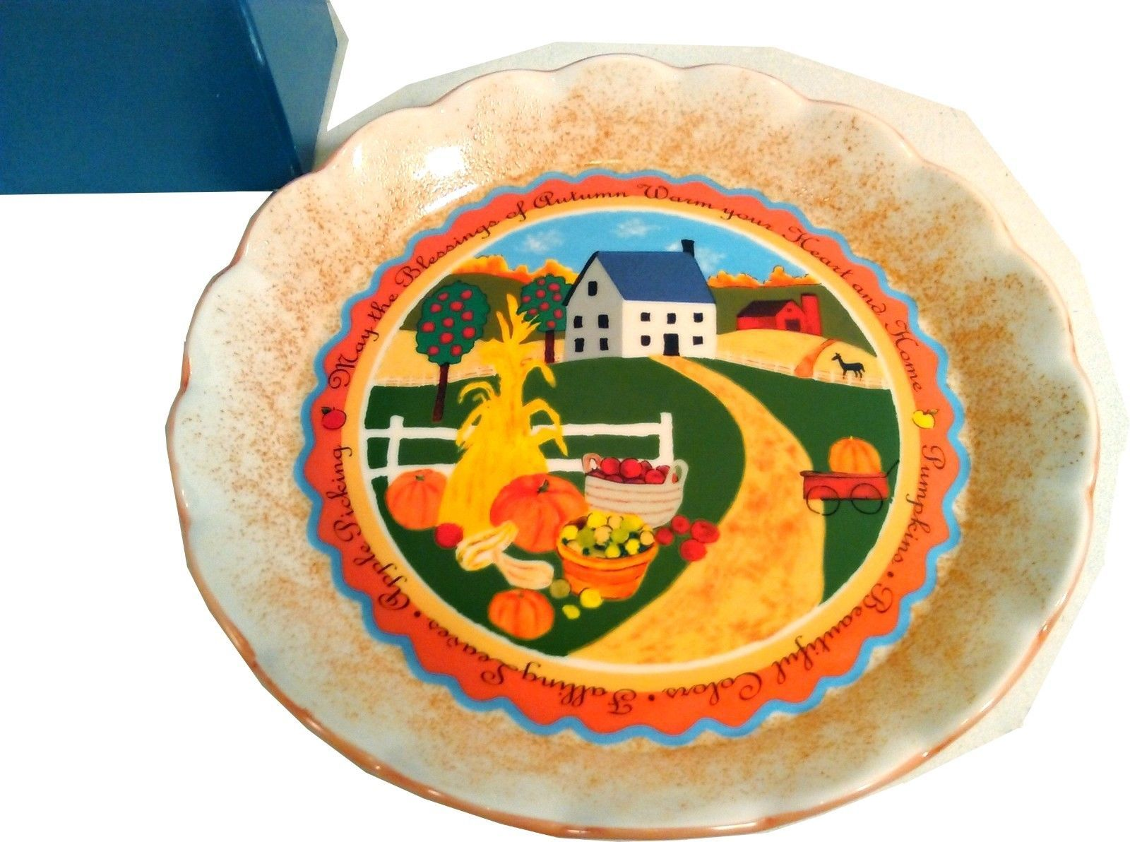 NEW DECORATIVE HARVEST ACCENT AVON PLATE CIRCA 2005 IN ORIGINAL BOX