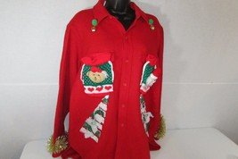 Ugly Christmas Sweater Cardigan Woolrich Womens Size Large Men's Medium ... - $398,34 MXN