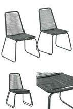 Black Modern Dining Chairs Garden Outdoor Cafe Hotel Stacking Seats Furn... - $160.96
