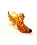 Fenton Glass Cat Heeled Slipper, Amber, Transparent, Hobnail Pattern, #F... - $14.65