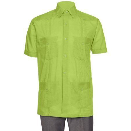 Gentlemens Collection Mens Linen Guayabera - Long Sleeve Cuban Shirt XL LIME