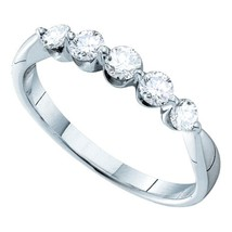 14kt White Gold Womens Round Diamond 5-stone Fashion Band Ring 1/2 Cttw - £425.63 GBP