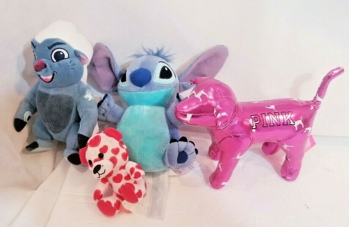 "Primary image for 7"" Plush bundle Disney toons Stitch Victoria Secret ""PINK"" heart build a bear"