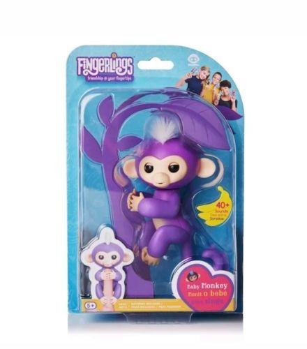 WowWee Fingerlings Mia the Purple Monkey NIB In Hand
