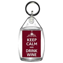 keyring double sided ,keep calm drink wine , keychain, keyfob, wine glass charm