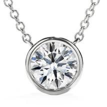 14K White Gold 0.75ct Enhanced Diamond Solitaire Bezel Pendant & Necklac... - $757.92+