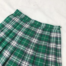 Plus Size GREEN Plaid Skirt Women Girl Long Pleated Skirt Full Green Plaid Skirt image 4