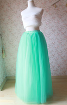 Mint Green Long Tulle Skirt High Waisted 4-Layered Puffy Tutu Skirt Outfit image 3