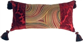 Pillow Decor - Multicolor Swirl Motif Decorative Pillow (WITH TASSELS) - £68.18 GBP