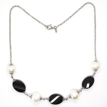Silver 925 Necklace, Oval Black Onyx Faceted, Pearls, 44 cm, Rolo Chain image 2