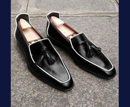 Handmade Men's Black Leather Slip Ons Tassel Loafer Shoes image 3