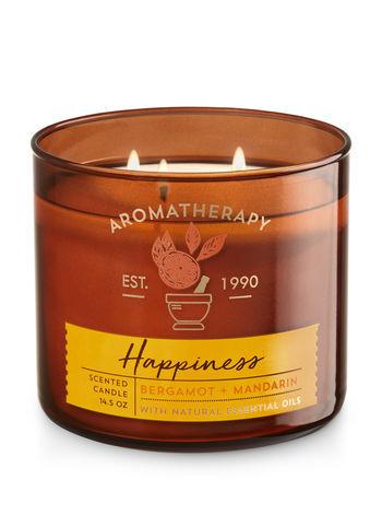 Bath & Body Works HAPPINESS - BERGAMOT & MANDARIN 3-Wick Candle