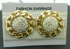 Clear Rhinestone Gold Tone Chain Link Flower Post Earrings Vintage NOS - $13.86