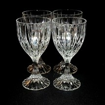 4 (Four) Mikasa Park Lane Cut Lead Crystal Wine Goblets Glasses Discontinued - $71.24