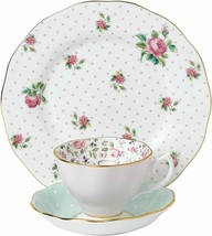 Royal Albert Modern Vintage Mix Teacup Saucer Plate Pink White 40034972 - $125.38