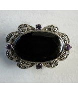 Vintage Art Deco Brooch Black Onyx Amethyst Marcasite Sterling Silver 92... - $69.29