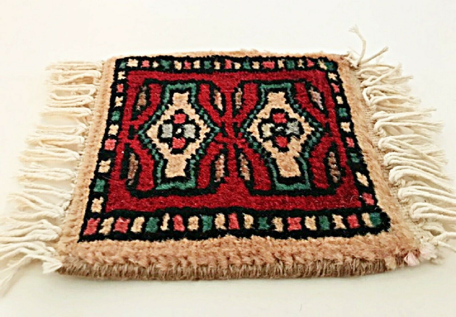 "Primary image for Doll House Rug Southwestern 6.5"" Square Plus Fringe Miniature Thick Carpet"