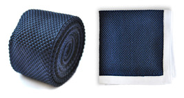 Matching knitted tie and pocket square in navy blue by Frederick Thomas