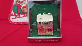 "Christmas Holiday Tree Ornament Joy Brite # 74E9800 Gold House Tree 2"" T... - $4.94"