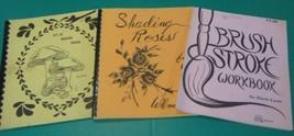 Lot 3 Book Basic Painting Strokes Rose Mushroom Teaching Instruction Beg... - $10.88