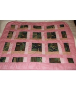 handcrafted quilt amish weave pink camo 35 x 44 lap baby toddler wheelchair - $45.00