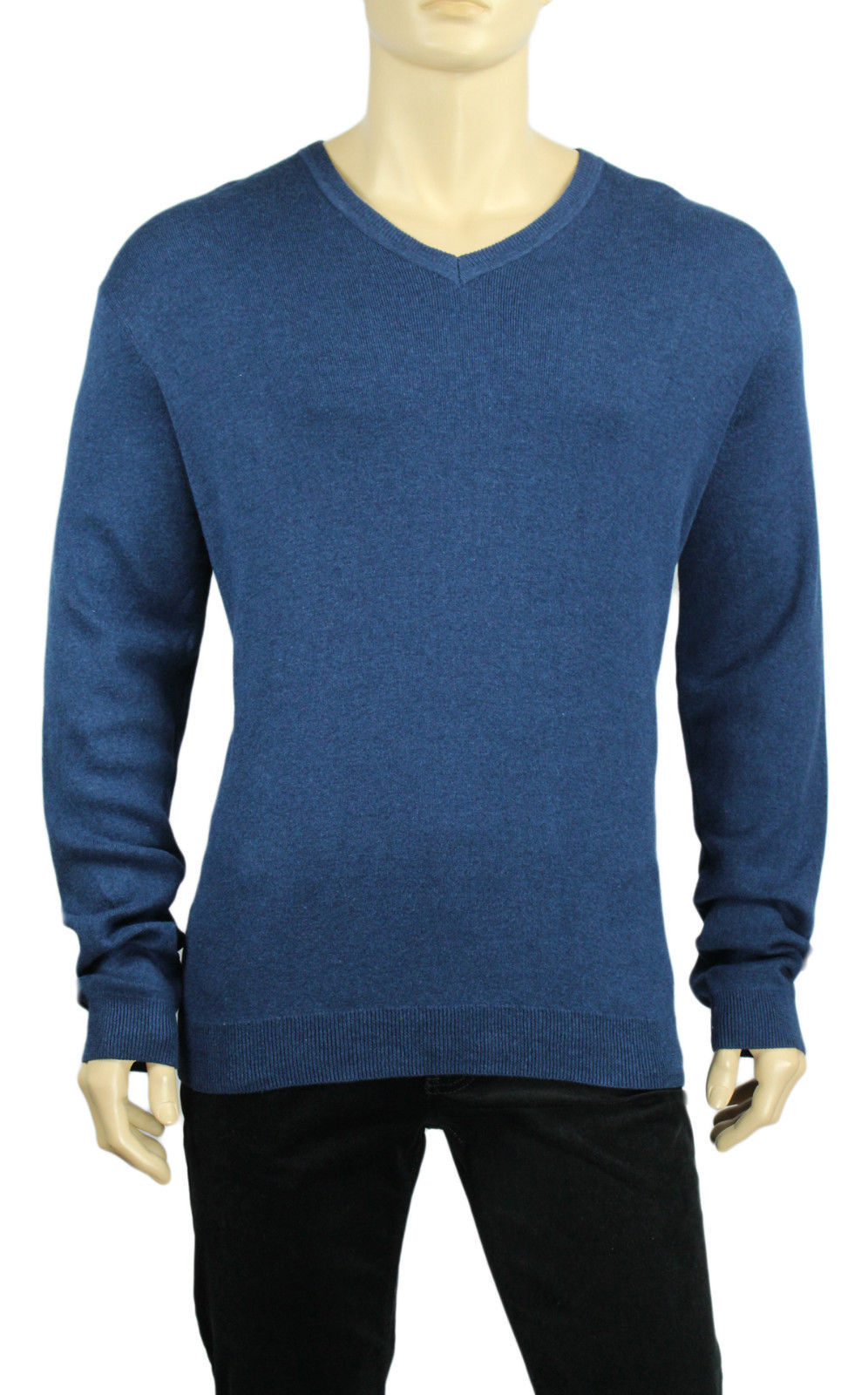 Primary image for NEW CALVIN KLEIN V NECK BLUE COTTON BLEND PULLOVER SWEATER XL $79