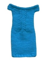 Barbie Doll Clothes Knit Turquoise Blue Off Shoulder Sweater Dress Handmade - $5.99