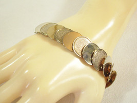 Pale Gold Plate Coin DISC Link Cuff Bracelet Shiny and Textured Vintage ... - $14.84