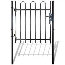 Garden Fence Gate Single Door Black Hoop Top Gateway Steel Patio Terrace... - $110.00