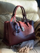 AUTH NWT Bottega Veneta Medium Roma Bag In Russet Intrecciato Calf Leather image 1