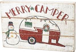 Primitives by Kathy Hand Lettered Christmas Slat Box Sign, Merry Camper - $27.98