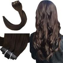Easyouth 100 Gram Clip in Human Hair Extensions Color #2 Dark Brown Hair Extensi