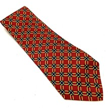 Paul Frederick Mens Handmade Silk Tie 4 X58 Red Yellow Blue Geometric - $5.94