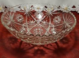 "EARLY AMERICAN PRECUT EAPG STAR OF DAVID GLASS SERVING BOWL 10 3/4"" - $11.20"