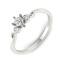 0.19 Ct Certified Natural Round Diamond Engagement Ring, 14k White Gold ... - £199.84 GBP