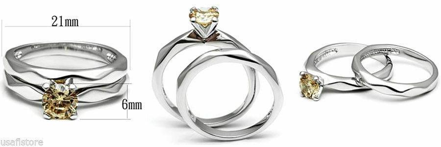 Champagne CZ Ladies Two PCS Wedding Set Silver White Gold EP Ring Size 9