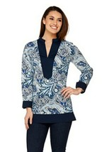 C. Wonder Paisley Foulard Print Long Sleeve Tunic Top Midnight Blue Wome... - $12.86