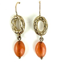 FAB VTG 80s 90s MONET GOLD FAUX CARNELIAN DANGLE DROP EARRINGS PIERCED S... - $13.77